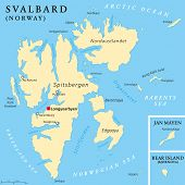 Svalbard Political Map with capital Longyearbyen, a Norwegian archipelago in the Arctic Ocean, formerly known by its Dutch name Spitsbergen. English labeling and scaling. Illustration. poster