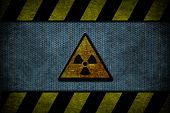 A blue metal with yellow and black danger strips poster