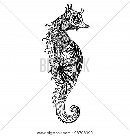 Abstract graphic sea horse, print.