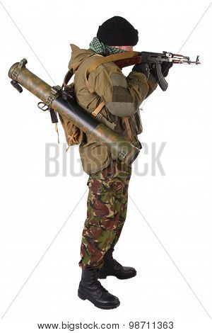 Fighter With Ak-47 Rifle