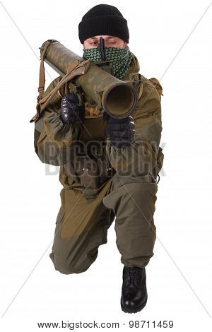terrorist with RPG rocket launcher isolated on white poster