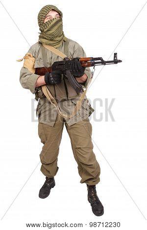 Insurgent Wearing Keffiyeh With Ak 47 Gun
