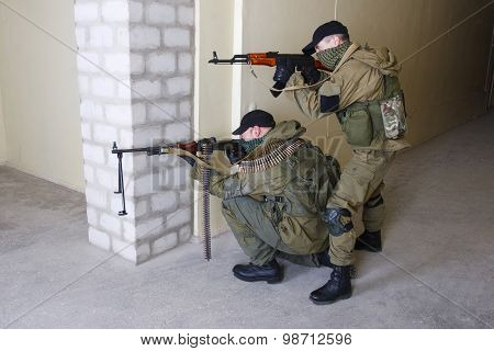 Mercenary With Ak  Rifle Ang Machine Gun
