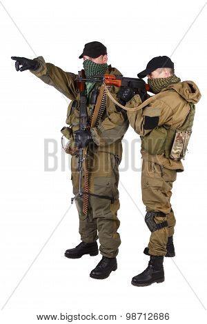 Insurgents With Ak 47 And Rpd Machine Gun