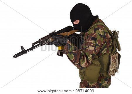 Ukrainian volunteer with kalashnikov rifle isolated on white poster