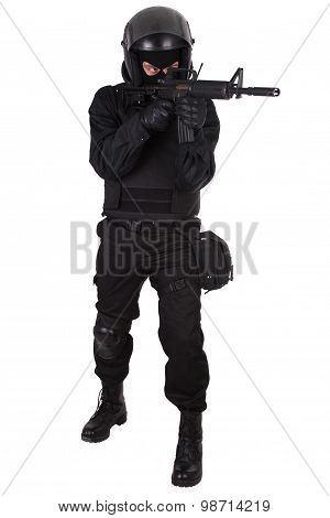 SWAT officer in black uniform isolated on white poster