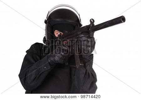 police special forces officer in black uniform isolated on white poster