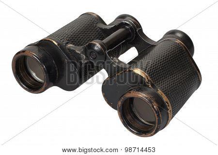 old ww2 period binoculars on white background poster