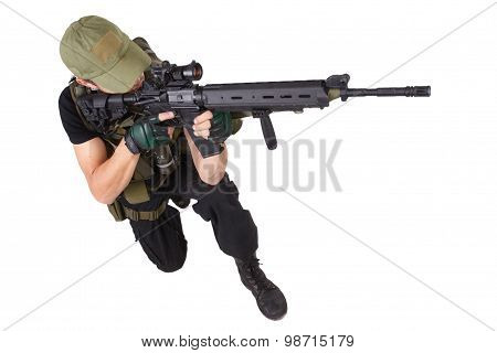 mercenary with m16 rifle isolated on white poster
