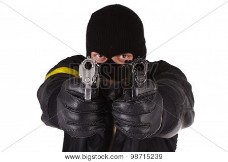 Robber with handgun isolated on white background poster