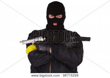 gunman with handgun isolated on white background poster