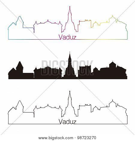 Vaduz Skyline Linear Style With Rainbow