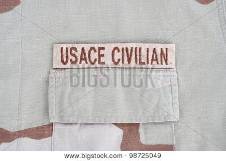 Kiev, Ukraine - June 14, 2015. Usace Civilan Branch Tape On Desert Camouflage Uniform