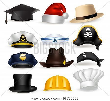 Set of 3D Realistic Professional Hat and Cap Isolated in White Background