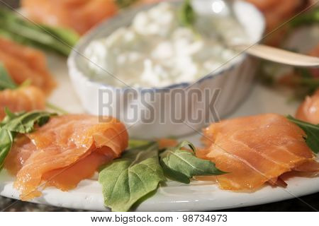 Starter Of Smoked Salmon With Cream Cheese