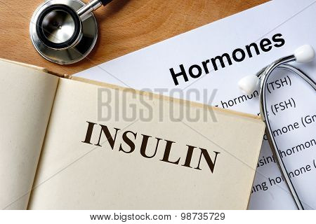 Insulin word written on the book and hormones list. poster