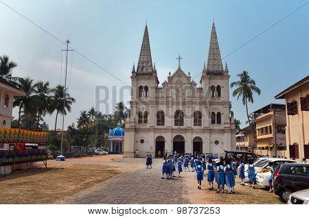 Indian Young Schoolgirls Near The Santa Cruz Basilica Colonial Church In Fort Kochi