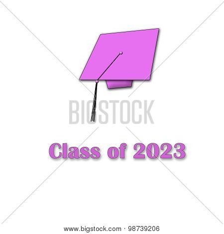 Class of 2023 Pink on White Single Large