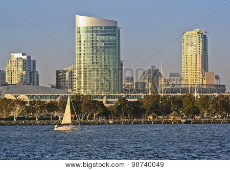 A View Of San Diego Bay, A Sailboat And Downtown