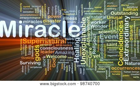 Background concept wordcloud illustration of miracle glowing light