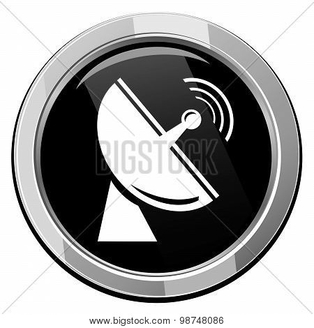 Radio radar transmitting signal - Vector icon isolated for mobile devices and contemporary interfaces poster