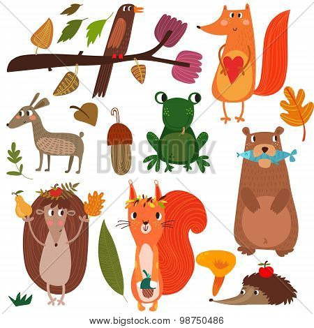 Vector Set Of Cute Woodland And Forest Animals. - Stock Vector