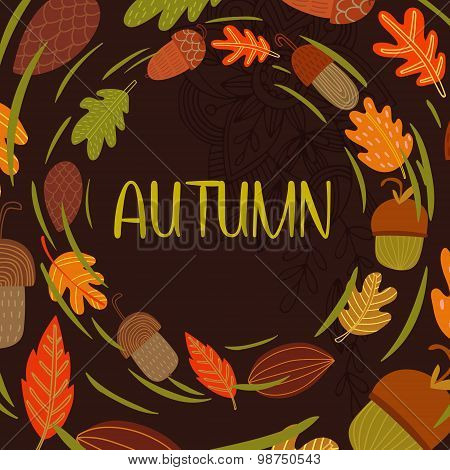 Vector Vintagr Autumn Card With Wreath From Leaves And Acorns. -stock Vector