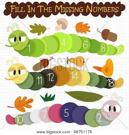 Learn To Count Number.fill In The Missing Numbers- Cartoon  Caterpillar - Stock Vector