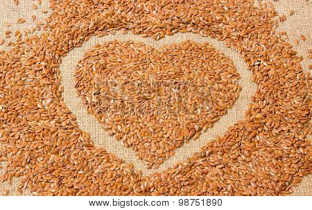 Closeup Of Flaxseed On Background Canvas