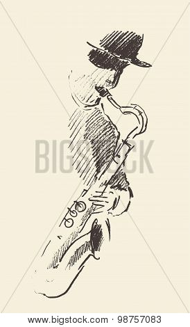 Concept for jazz poster Man playing saxophone Vintage hand drawn illustration sketch poster