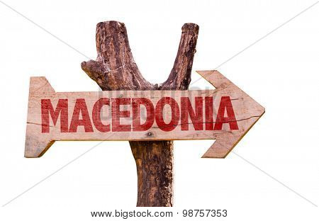Macedonia wooden sign isolated on white background