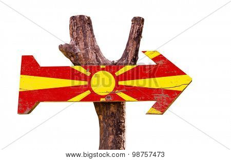 Macedonia Flag wooden sign isolated on white background