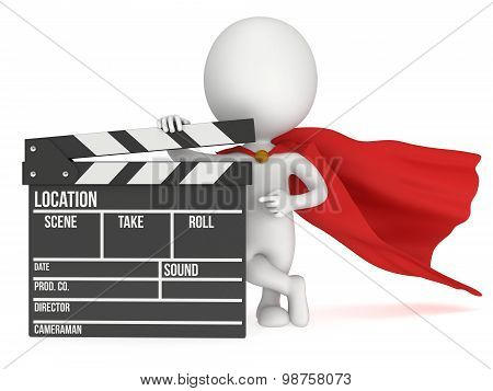 3D Superhero With Cinema Clapperboard