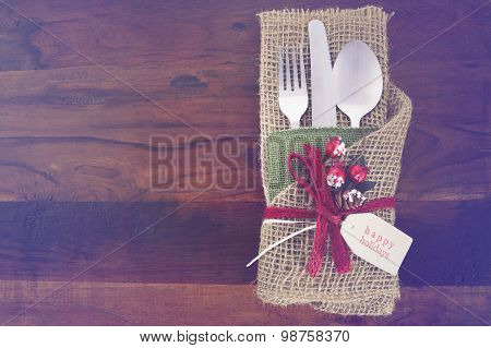 Vintage Style Christmas Table Setting