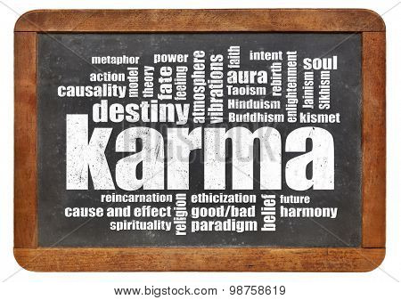 karma word cloud on a vintage slate blackboard isolated on white - spirituality concept