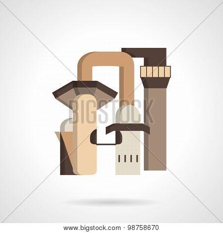 Metallurgy factory flat vector icon