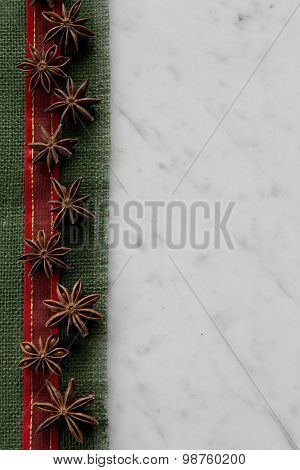 Burlap Ribbon and Aniseed Border on Marble - Vertical