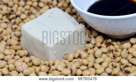 Soy Tofu With Soybean And Soy Sauce