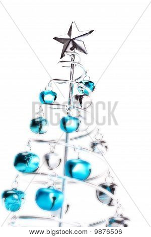 Christmas Tree Made Out Of Blue And Silver Jingle Bells