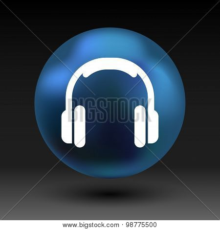 headphone icon vector music isolated hear funky white stereo. poster