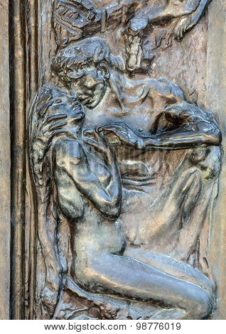 PARIS, FRANCE - SEPTEMBER 12, 2014: Paris - Museum Rodin. The Gates of Hell is a monumental sculptural group work by Rodin that depicts a scene from