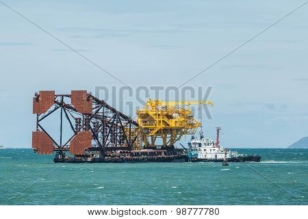 Oil Rig In The Sea.