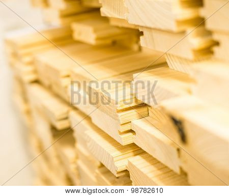 Stack Of New Wooden Planks