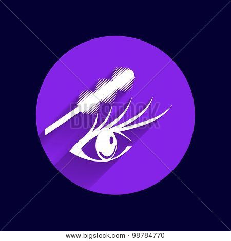 Illustration brushes mascara and mascara brush makeup eye eyelash poster