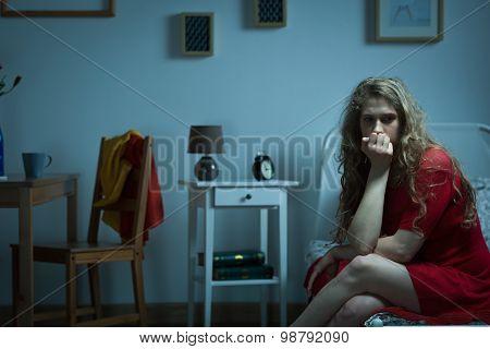 Nervous Girl Biting Nails