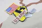 KIEV UKRAINE - May 18 2015. US ARMY 1st Cavalry Division patch whith dog tags on desert uniform poster