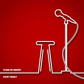 Vector Illustration of Stand up Comedy in Night Club for Design, Website, Background, Banner. Microphone Silhouette Outline Style Element Template. Fun and Jokes poster