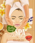 Stock vector illustration beautiful woman taking facial massage treatment in the spa salon on bamboo background poster