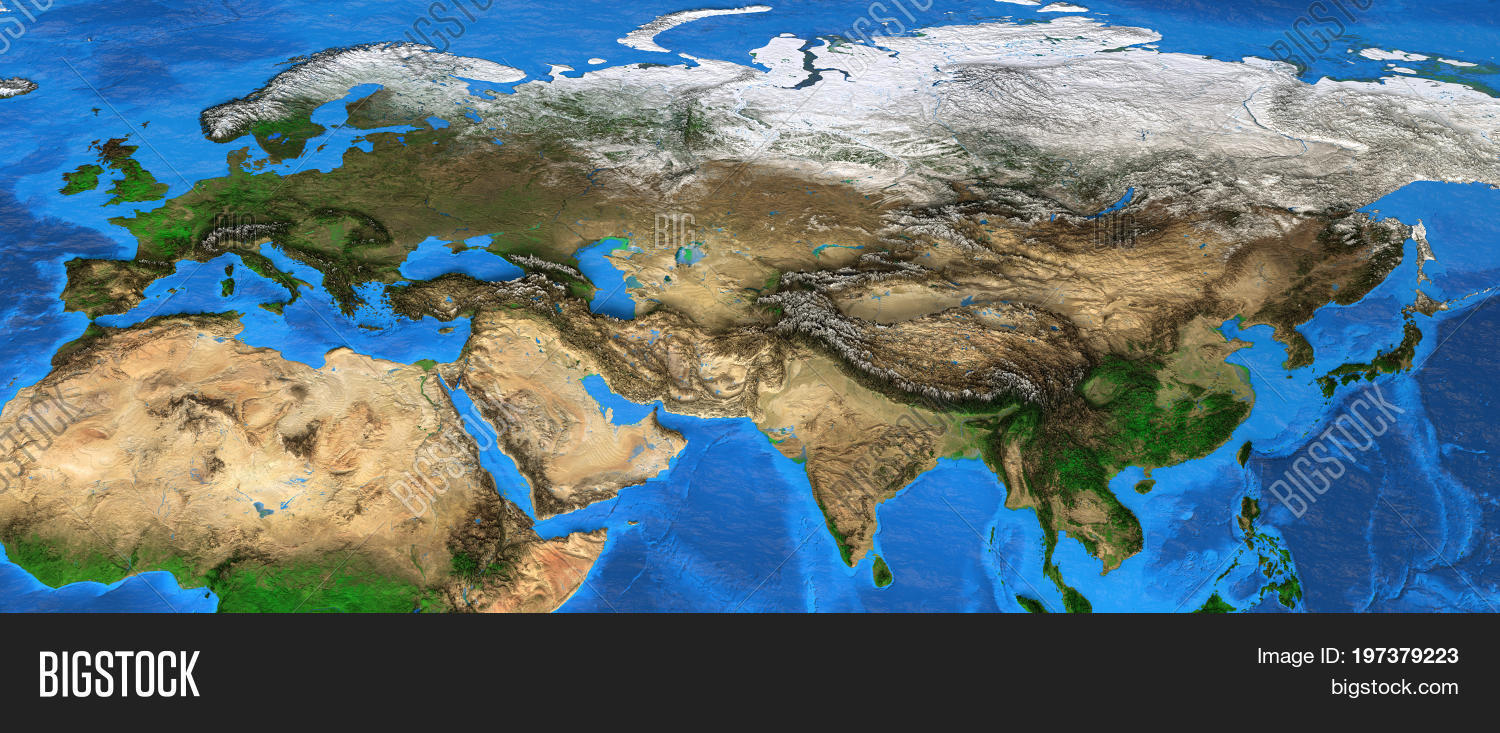Map Of Asia 3d.Map Eurasia Detailed Image Photo Free Trial Bigstock