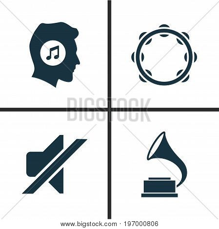 Multimedia Icons Set. Collection Of Phonograph, Silence, Meloman And Other Elements